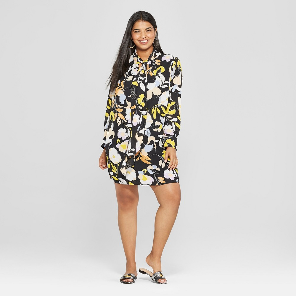 Women's Plus Size Floral Print Long Sleeve Tie Neck Mini Dress - Who What Wear Black 1X, Black Floral