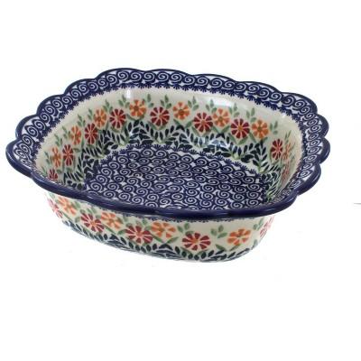 Blue Rose Polish Pottery Garden Bouquet Medium Square Serving Dish