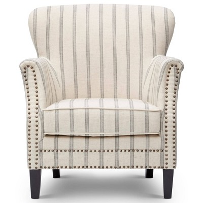 Fabric Upholste Wooden Accent Chair with Nail Head Trim White/Gray - Benzara