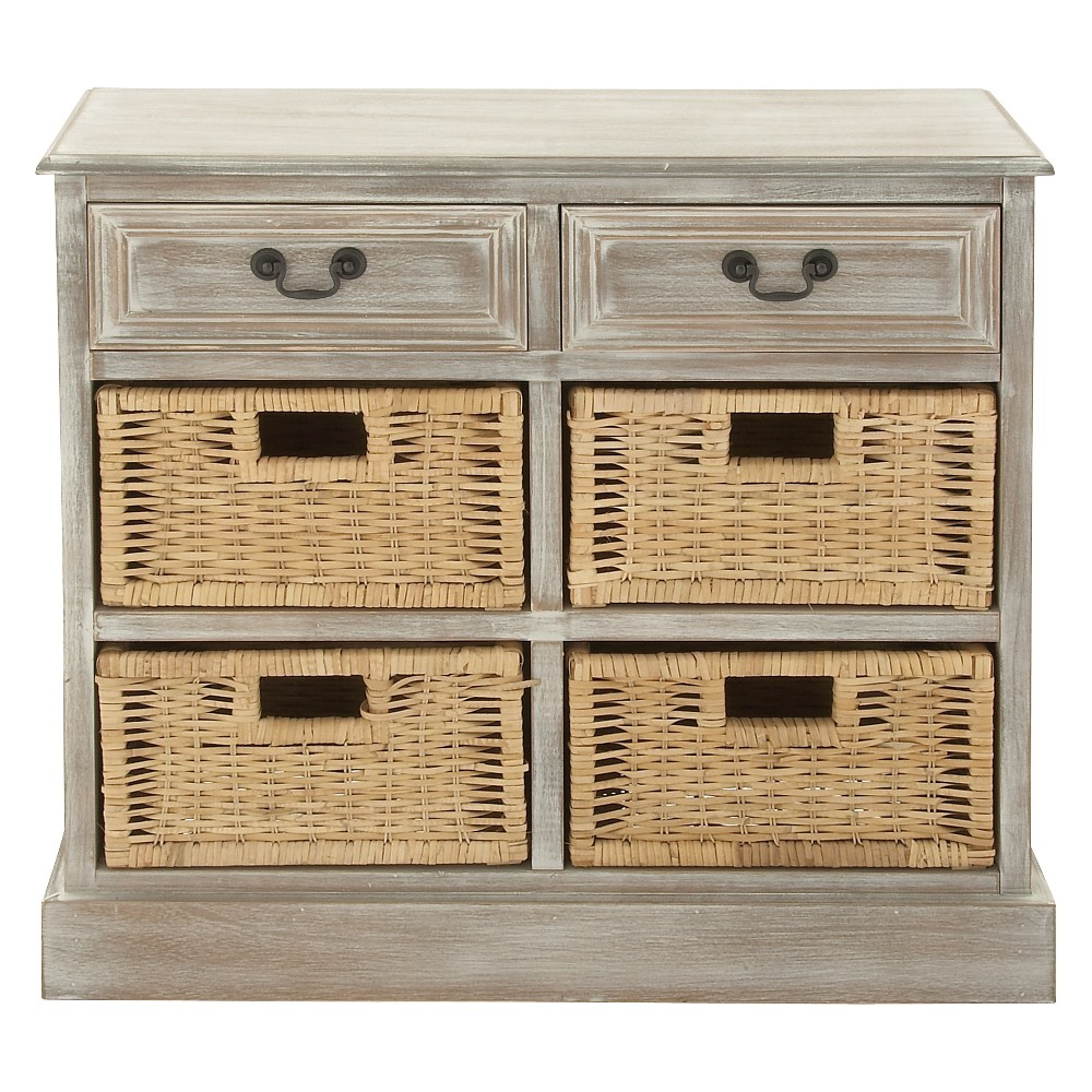Wood Storage Accent Chest 4 Wicker Basket Drawers Taupe (Brown) - Olivia & May