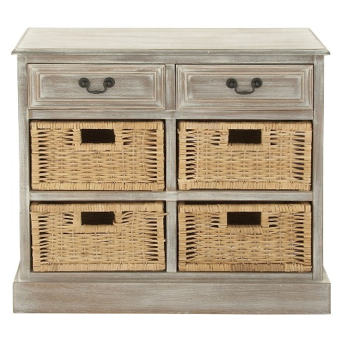 Wood Storage Accent Chest 4 Wicker Basket Drawers Taupe - Olivia & May - image 1 of 4