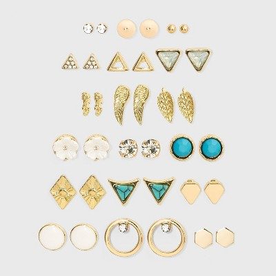 Acrylic Stones and Cubic Zirconia Stud Earring Set 18pc - Wild Fable™ Gold