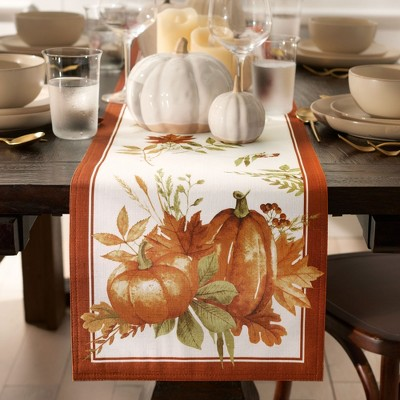 Autumn Pumpkin Grove Fall Table Runner - Orange/Rust - 13x70 - Elrene Home Fashions
