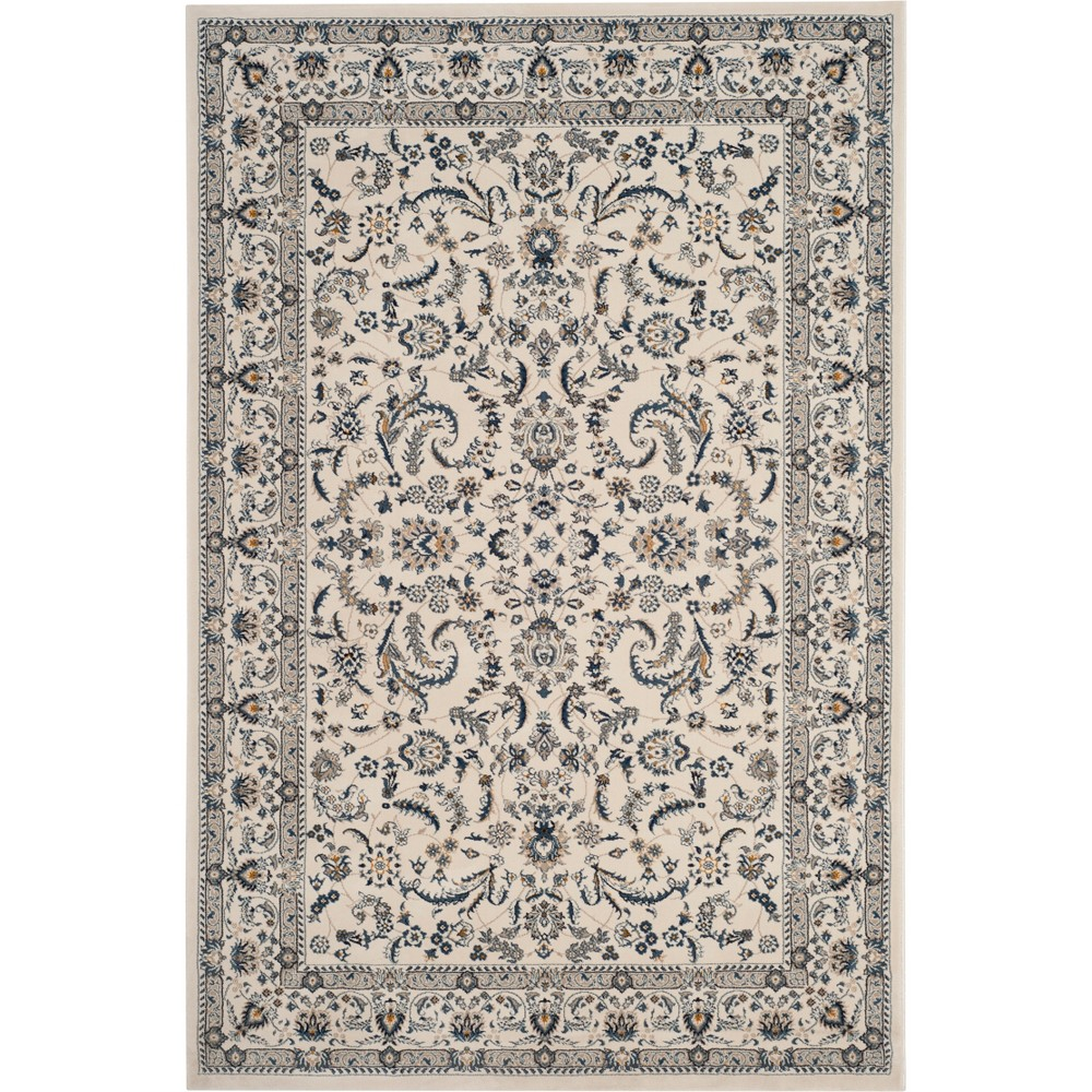 4'X6' Floral Loomed Area Rug Ivory/Blue - Safavieh, White