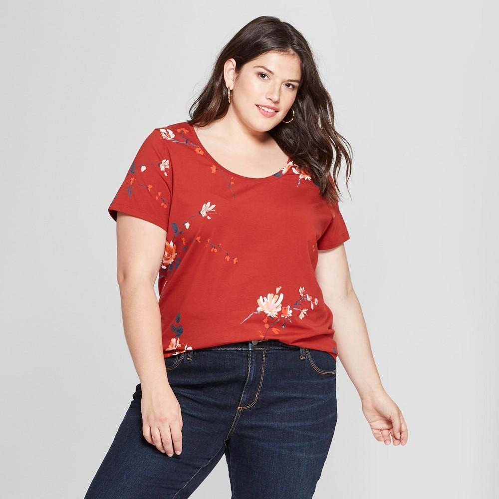 Women's Plus Size Floral Print Scoop Neck Short Sleeve T-Shirt - Ava & Viv Red 3X
