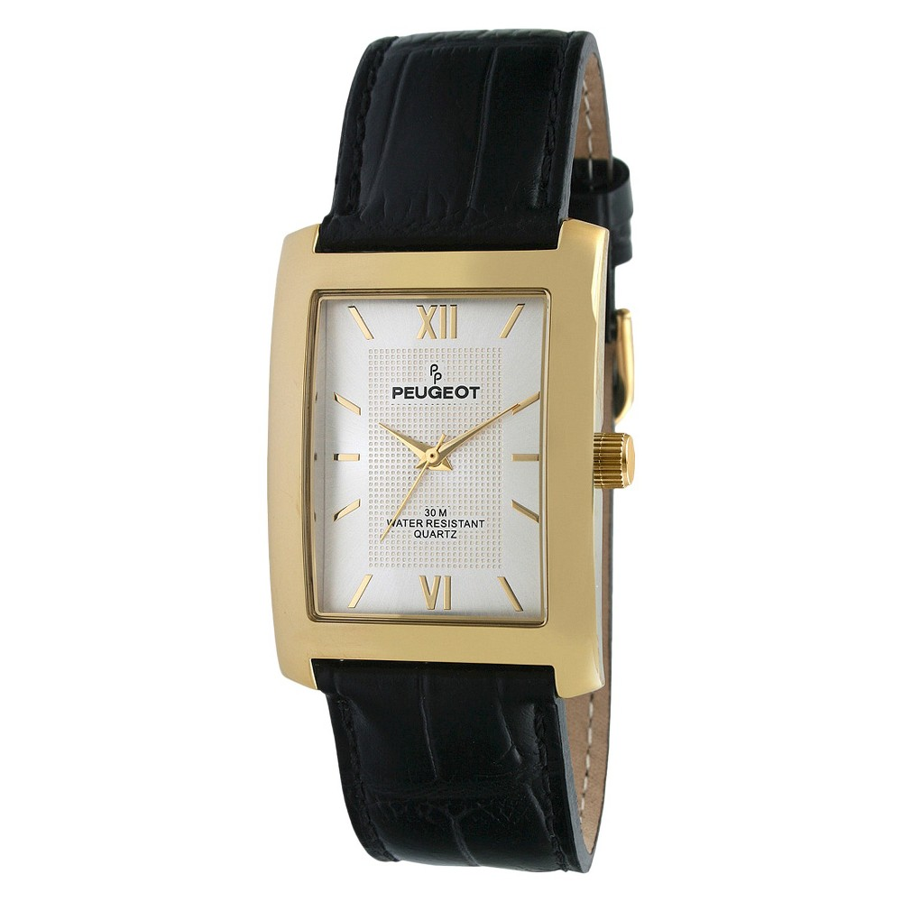 Image of Men's Peugeot Gold-tone Silver Dial Leather Strap Watch - Black, Men's, Size: Small, Black/Gold/Silver