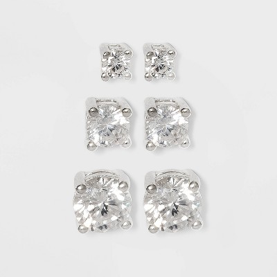 Women's Sterling Silver Stud Earrings Set with Round Cubic Zirconia 3pc - A New Day™ Silver