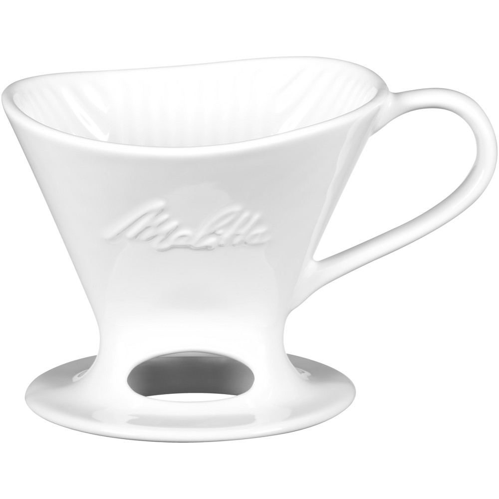 Image of Melitta 1 Cup Porcelain Pour-Over Cone Coffee Maker - White
