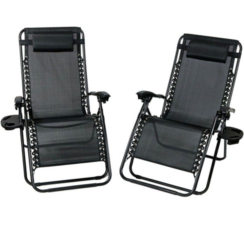 Astounding Oversized Zero Gravity Lounge Chair With Pillow And Cup Holder Set Of 2 Black Sunnydaze Decor Uwap Interior Chair Design Uwaporg
