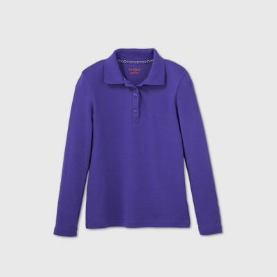 Girls' Long Sleeve Interlock Uniform Polo Shirt - Cat & Jack™ Purple