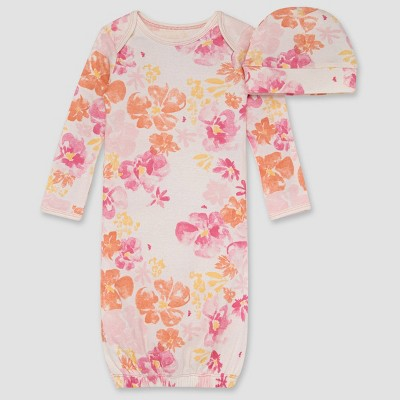 Burt's Bees Baby® Baby Girls' Sunset Bloom NightGown with Cap - Rose Pink