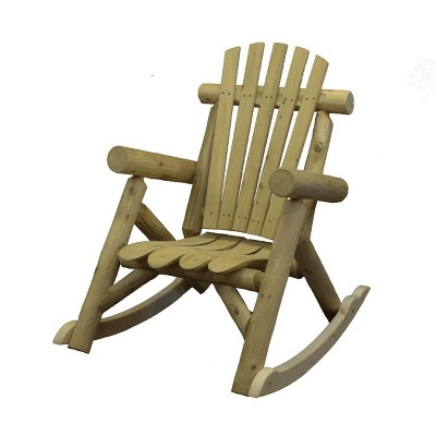 Lakeland Mills Country White Cedar Wood Log Outdoor Porch Patio Rocking Chair Furniture, Natural