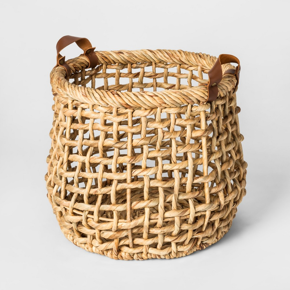 "Image of ""13.8"""" x 11.8"""" Decorative Water Hyacinth Basket with Leather Handles Natural - Threshold , White"""