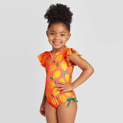 Toddler Girls' Lemon Print Zip-Up One Piece Swimsuits - Cat & Jack™ Moxie Peach 12M