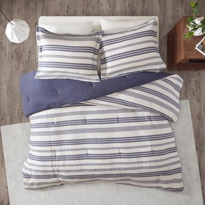 Mason Stripe Print Ultra Soft Cotton Blend Jersey Knit Comforter Set