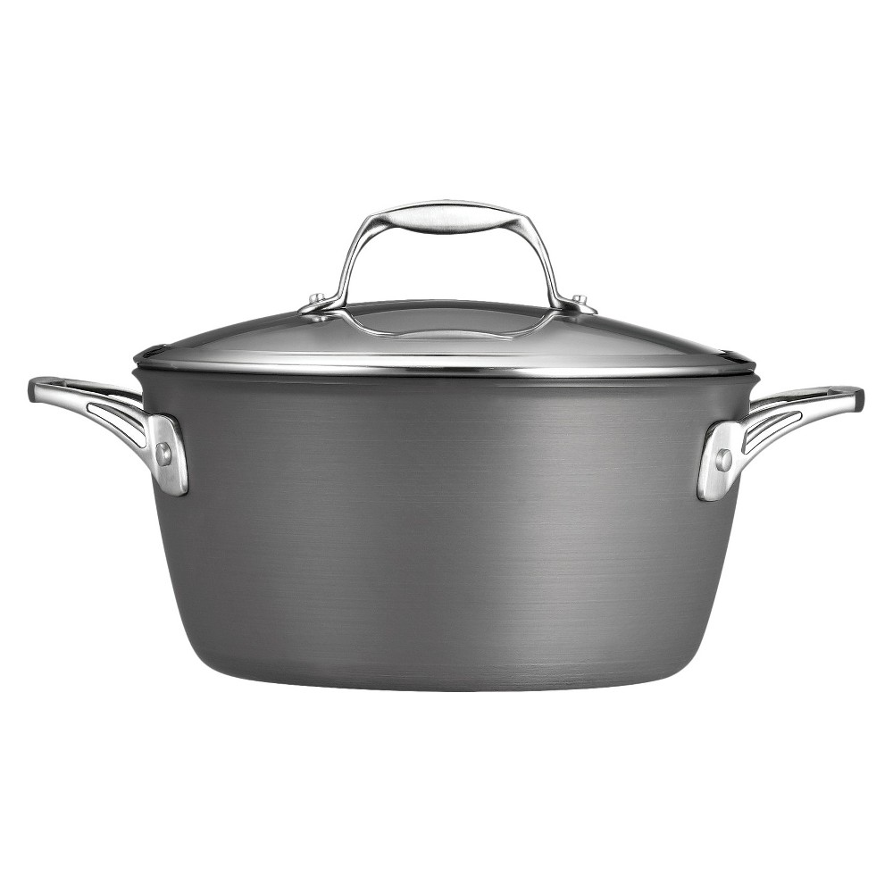 Tramontina 5 Quart Hard Anodized Dutch Oven - Gray This Tramontina Gourmet Hard Anodized Nonstick Sauce Pan is a durable and versatile addition to any kitchen, and is a must-have for slow-cooking meats or making soups, stews and chili. Its heavy-gauge aluminum construction provides quick and even heat distribution, combined with an anodized exterior that is extremely durable and harder than any other conventional cookware. The tempered glass lid allows you to monitor cooking progress, while ergonomically designed, cast stainless steel handles are riveted for added support. Its reinforced nonstick interior allows food to easily release from the pan and provides effortless cleanup. Ready to tackle a variety of cooking tasks, this cookware can be used on gas, electric, and ceramic glass cooktops and is offered under a Lifetime Warranty. Made in USA with imported components. Cookware vessels proudly made, assembled and packed in the USA using imported components.