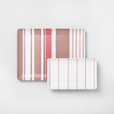 2pk Melamine Serve Tray Multi Stripe - Hearth & Hand™ with Magnolia