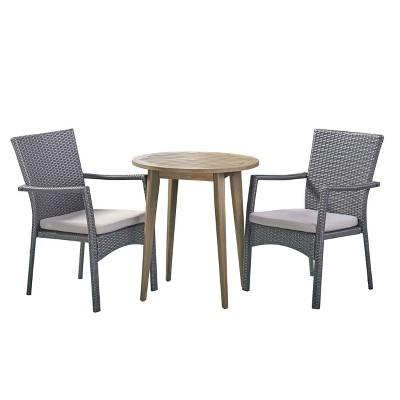 Arezzo 3pc Wood & Wicker Bistro Set - Gray/Gray - Christopher Knight Home