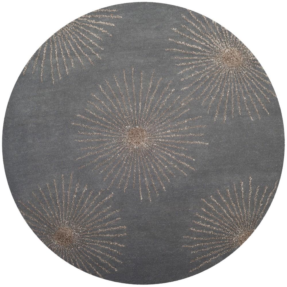 6' Burst Tufted Round Area Rug Dark Gray/Silver - Safavieh