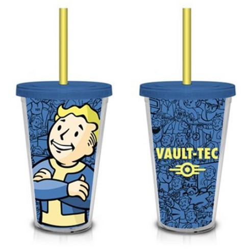 Just Funky Fallout Vault Boy Vault-Tec (Blue) 18oz. Travel Cup with Straw - image 1 of 1