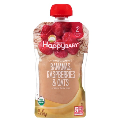 Happy Baby Clearly Crafted Stage 2 Organic Baby Food, bananas, raspberries & oats - 4oz - image 1 of 4