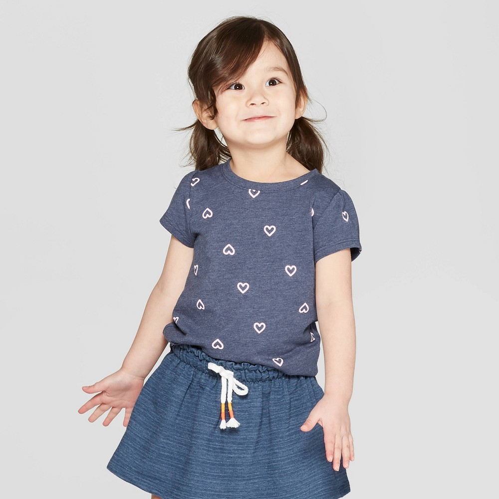 8a8d0042 Toddler Girls Short Sleeve Heart Print T Shirt Cat Jack Navy 4T Blue