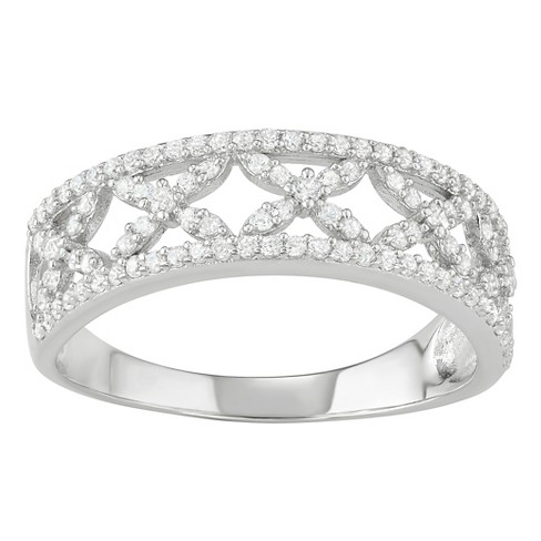 1 1/4 CT. T.W. Round-cut Cubic Zirconia Cross Pave Set Band in Sterling Silver - Silver - image 1 of 2