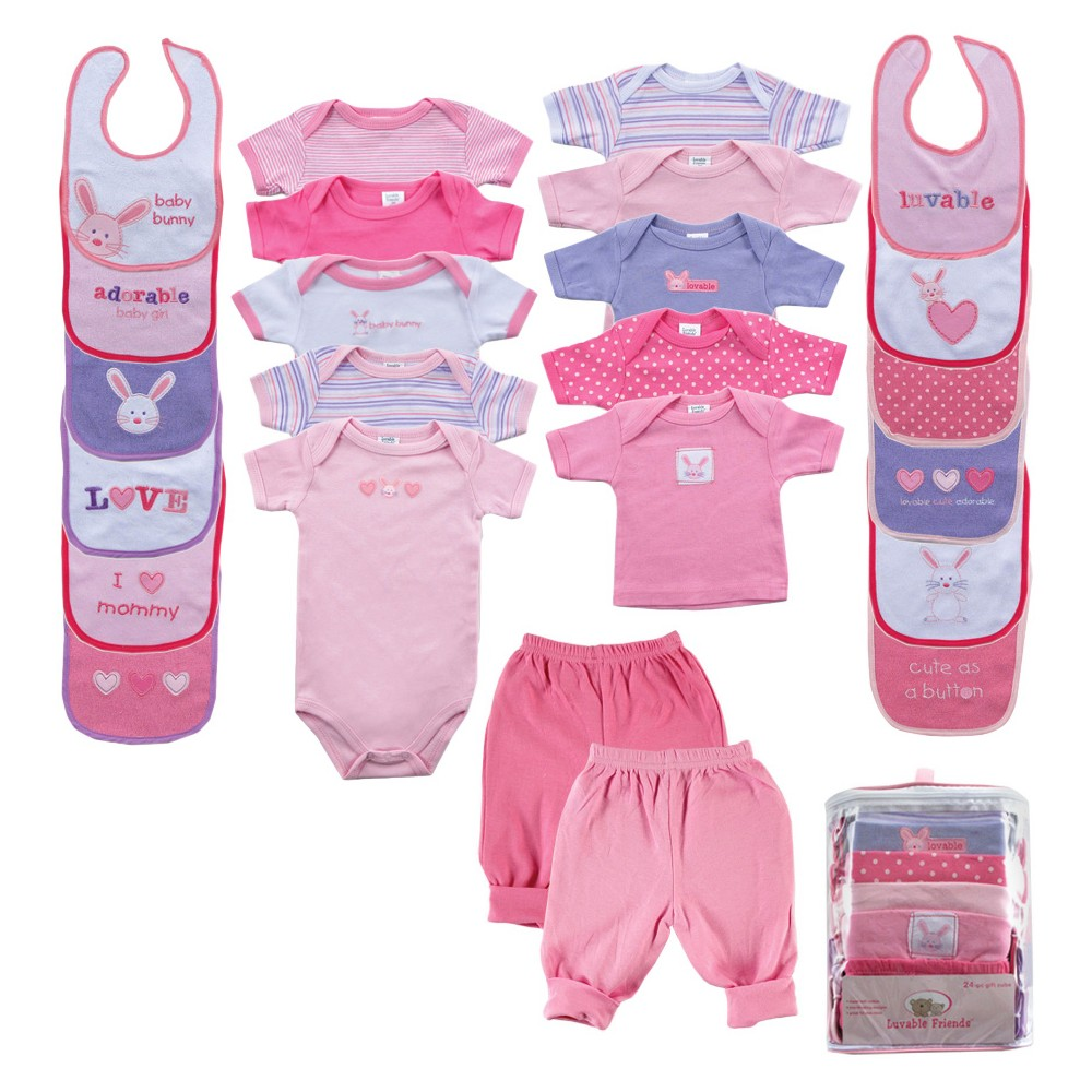 Image of Luvable Friends Baby Girls' 24 Piece Gift Set - Bunny, Girl's, Pink