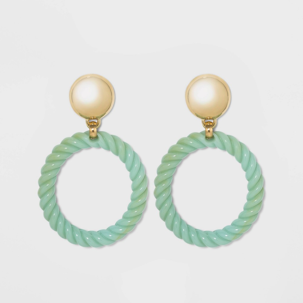 Image of SUGARFIX by BaubleBar Acrylic Braided Hoop Earrings with Gold Stud - Jade, Women's, Green
