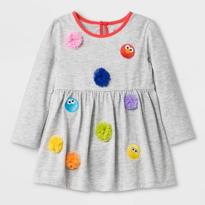 Baby Girls' Isaac Mizrahi Loves Sesame Street Multi Character Elmo Dress - Gray 0-3M
