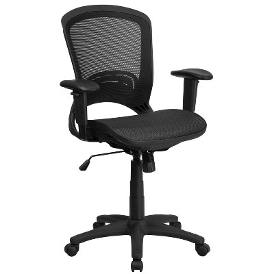 Flash Furniture Mid-Back Transparent Black Mesh Executive Swivel Office Chair with Adjustable Arms