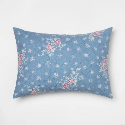 Standard Lily Rose Chambray Pillow Sham Blue - Simply Shabby Chic®