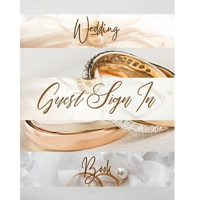 Wedding Guest Sign In Book - Gold Luxury Delicate Jewelry Band Cream Brown White Pearl Abstract Floral Ring Circle Dot - by  Song Soul (Paperback)
