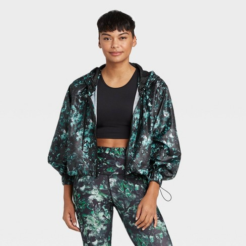 Women's Floral Print Active Zip Front Jacket - All in Motion™ Black - image 1 of 4