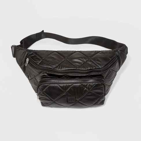 Women's Pearlized Quilted Nylon Fanny Pack - JoyLab™ Black - image 1 of 4