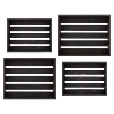 Set of 4 Rustic Wood Crate Wall Storage Black - Patton Wall Decor