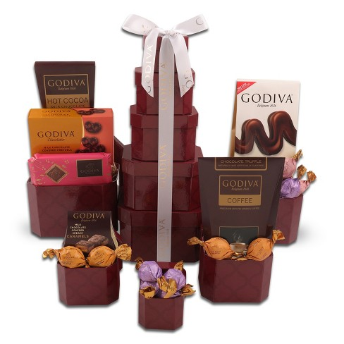Alder Creek Gifts Burgundy Godiva Tower Christmas Gift Basket - 3lb ...