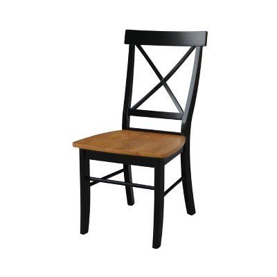 Set of 2 X Back Chairs with Solid Wood Seats Black/Cherry Red - International Concepts
