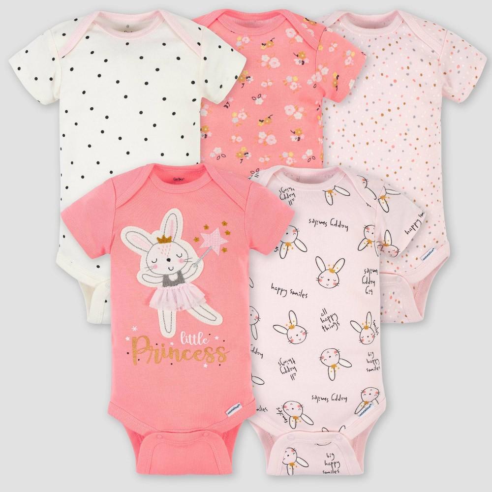 Gerber Baby Girls 39 5pk Ballerina Short Sleeve Onesies Light Pink 18m