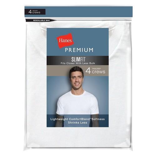 Hanes Premium Men's 4Pk Crew-Neck Tees - White S, Men's, Size: Small
