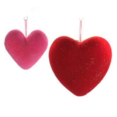 "Valentine's Day 9.25"" Hanging Flocked Hearts Set / 2 Decoration Love Decor Decorate One Hundred 80 Degree  -  Decorative Figurines"