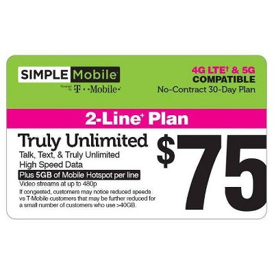 Simple Mobile Prepaid 2 Line - $75