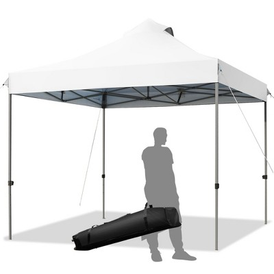 Costway 10' x 10' Portable Pop Up Canopy Event Party Tent Adjustable W/Roller Bag White\Blue\Grey