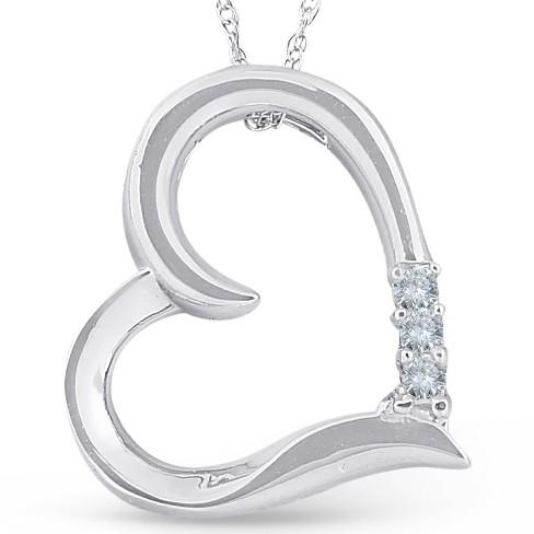 """Pompeii3 Princes Cut Diamond 3-Stone 10K White Gold 18"""" Chain 3/4"""" Tall - image 1 of 4"""