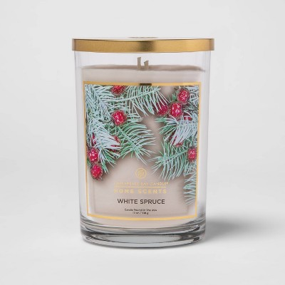 19oz Lidded Glass Jar 2-Wick White Spruce Candle - Home Scents By Chesapeake Bay Candle