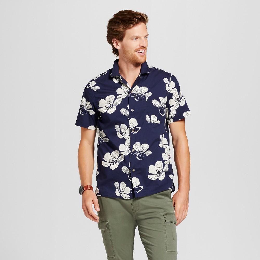 Men's Standard Fit Short Sleeve Button-Down Shirt - Goodfellow & Co Navy (Blue) L