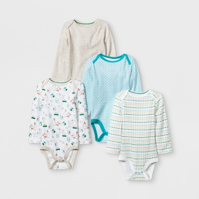 Baby 4pk Long sleeve Bodysuit - Cloud Island™ Oatmeal Heather 0-3M