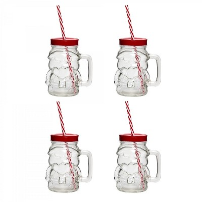 Amici Home Santa Mason Drinking Jar, 18oz, Set of 4