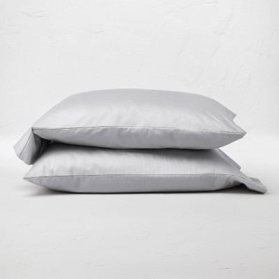 King Washed 500 Thread Count Supima Sateen Solid Pillowcase Set Light Gray - Casaluna™