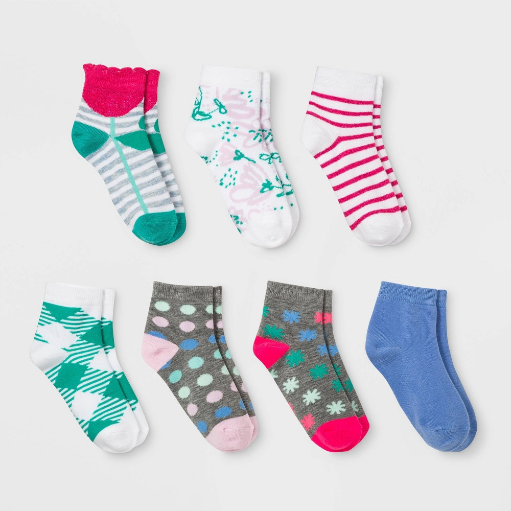 Girls' 7pk Print No Show Socks - Cat & Jack Colors May Vary S, Green